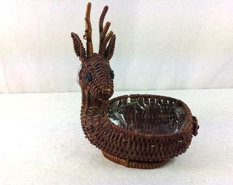 Deer Wicker Basket Vintage Wicker Deer Basket Beautiful Deer Basket Wicker Basket