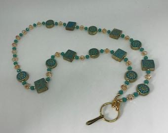 Czech Glass, Ceramic and Glass Bead Lanyard/ Eyeglass Holder/ ID Holder/ Keychain Holder- Handmade