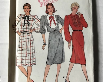 Vintage 80s Butterick 4157 Sewing Pattern / Vintage 80s Dress Pattern Uncut / size 12 Dress Pattern Bust 34