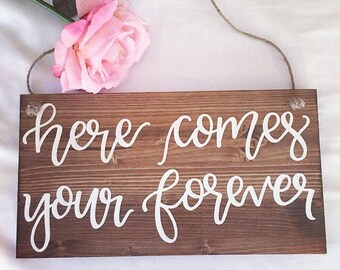 Wedding sign wooden wedding sign ring bearer sign flower girl sign wedding ceremony sign rustic wedding decor wedding decorations here comes