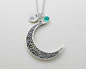 Moon Necklace, Crescent Moon Jewelry, Celestial, Swarovski Birthstone, Birthday, Personalized, Monogram, Hand Stamped, Silver Letter Initial
