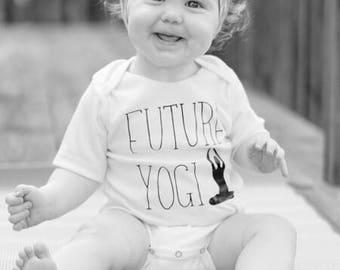 Future Yogi Bodysuit/Children's Shirt, Yoga, Yoga Shirt, Yoga Clothing, Yoga Baby, Yoga Onesie, Baby Shower Gift, Expecting Mom Gift