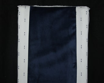 Deluxe Changing Pad Cover- Navy Mini Arrow With Minky On Center