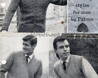Mens sweater Knitting Pattern pdf 1950s Mens Sweaters Slipover cable Jumper Polo Neck Sweater V Neck 38-42 inch DK PDF instant download