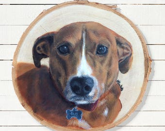 Dog Portrait, Dog Memorial, Pet Memorial, Wall Decor, Dog Sympathy Gift, Pet Portrait, Pet Loss Gift, Dog Painting on Wood, Custom Dog Art