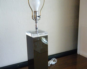 Mid Century Modern George Baird Brown & Clear Lucite Table Lamp