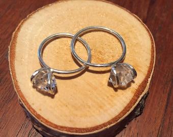 Dainty Herkimer Diamond Solitaire- gift idea, christmas present, alternitive engagement ring, American diamond, annivesary, wedding