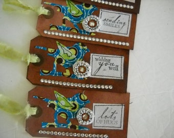Dyed Bird Tags with Fabric- Set of Four