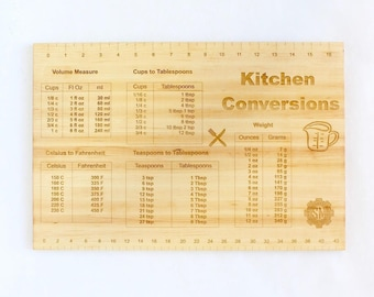 Cutting Board with Kitchen Conversions