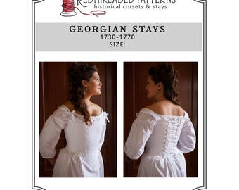 18th Century Stays, Printable E-Pattern plus size 18, PDF Georgian Corset Pattern for Historical Rococo, Marie Antoinette Periods