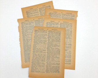 Vintage Dictionary Pages, 5 Sheets from the 1960's