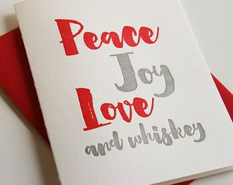 Letterpress Holiday Card - Peace and Whiskey