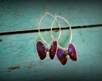 Dark Purple Coquina Shell Butterfly Earrings ~ Swarovski crystal beads ~ beach ocean island jewelry ~ festival wedding concert fashion