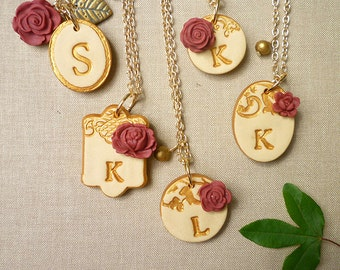 Bridesmaids Necklaces- Romantic Vintage Red and Gold - Beauty and the Beast Chic inspired wedding party gifts, letter, monogram, initial
