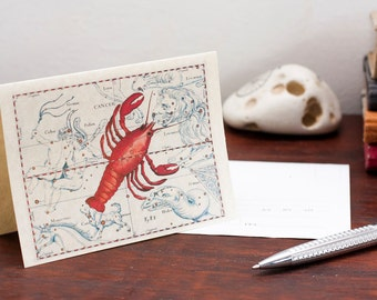 Printable Zodiac Sign Cancer Constellation Greeting Card Printable Digital File Instant Download Birthday Card PDF Download File Christmas