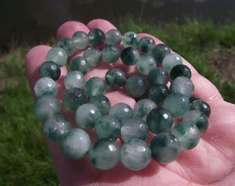 5 BEADS FACETED 8 MM MULTICOLOR JADE A.