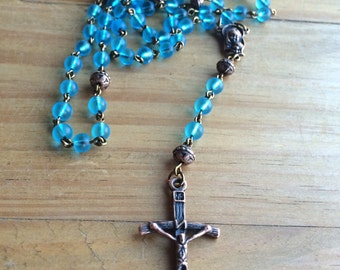 Rosary, handmade with frosted glass beads and tibetan copper crucifix and station