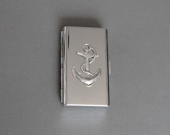 Anchor Cigarette Case Nautical Metal Wallet Anchor Gifts Cigarette Metal Wallet Case Silver Anchor Business Card Case Steampunk Style