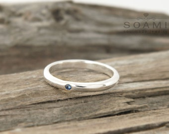 925 sterling silver band ring, sapphire silver ring,minimalist silver ring