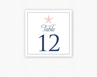 Starfish Table Number, Starfish Rehearsal Dinner, Destination Wedding Table Number Cards, Beach Wedding, Printed Table Numbers