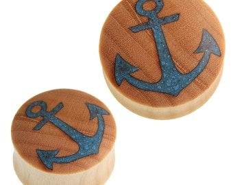 Wood plug anchor crushed turquoise stone inlay bright blue crocodile wood (No. HPT 395kr)