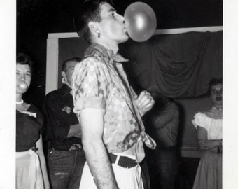 vintage photo Instant Download Bubble Gum Blowing Young Party Man Gay Int