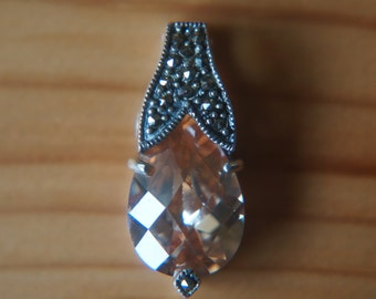 Marcasite and Peach Pear Pendant