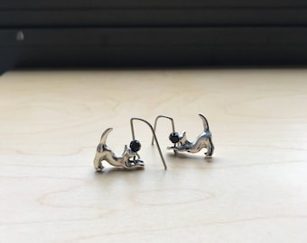 Cat Earrings, Titanium Earrings, Hypoallergenic Earring for Sensitive Ears, Unique Jewelry, Quality Modern Earing, Valentines Gift for her