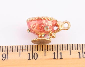 1 Pink Wine Cup Charms - EF00228
