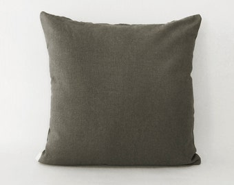 Army green linen | pillow cover