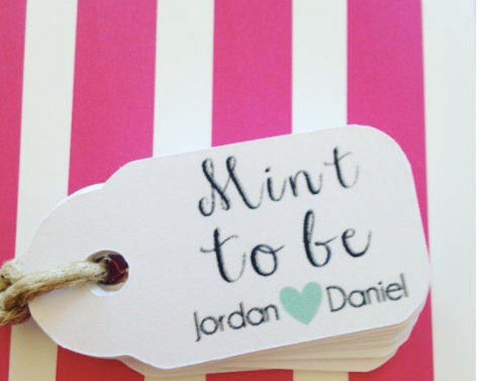 """Thank You """"Mint To Be"""" tags!, set of 10 ten, Mint to Be Favor Tags, 2 inches by 1 inch, Custom Mint to Be Favor Tags, Mint to Be Tags"""
