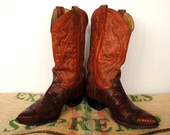 Brown Snakeskin Justin Cowboy Boots – Made in USA  – Western Cuban Heel – 80s Size usM 9 EE usL 10.5 EU 43