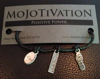 Marathon Themed Sterling Silver Charms Bracelet