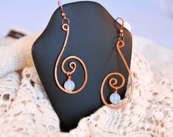 Glass and copper swirl earrings