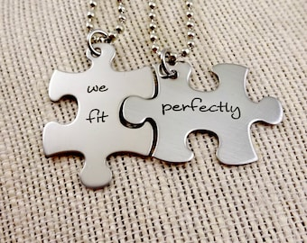 We Fit Perfectly Puzzle Necklaces Set or Keychains - His and Hers - Boyfriend Husband Partner Fathers Day Christmas Gift