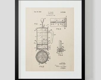 French Press Coffee Kitchen Patent Print 6