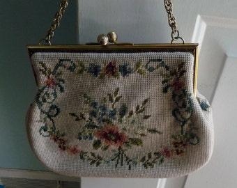 vintage needlepoint purse formal motif