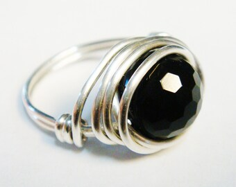 Black Onyx Ring, Mens Ring, Black Onyx Gemstone, Black Ring, Silver Jewelry, Sterling Silver Ring, Black Onyx Jewelry