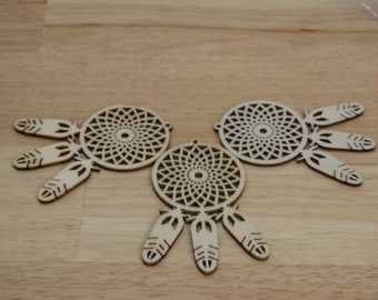"""Dream Catcher Wood 3.25"""" Laser Cut Ornament (tag decoration gift blank dreamcatcher dreams wish unfinished wooden native american)"""