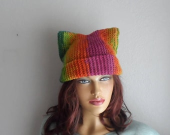 Cat Ear Hat, Cat Ear Beanie, Rainbow Cat Ear Hat, Cat Beanie in Rainbow Colors, Knit Cat Hat, Outdoors Gift