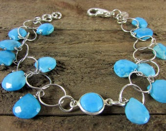 Turquoise Charm & Sterling Silver Bracelet, Signature Turquoise Jewelry, Gemstone Jewelry