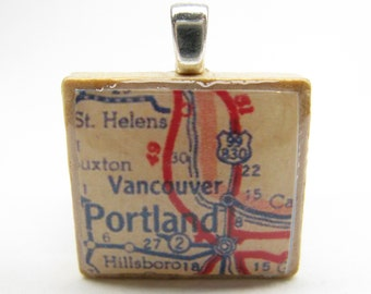 Portland and Vancouver - 1950s vintage Scrabble tile map pendant