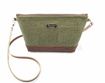 MTO - Cork Bag - Two Toned Crossbody Purse -leather strap
