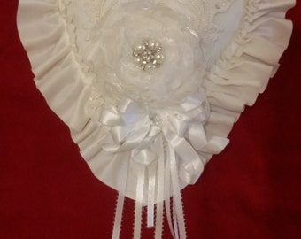 Ring bearer pillow shabby chic lace applique pearls ribbons rhinestones