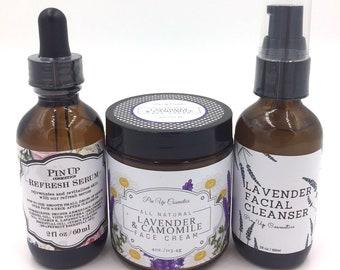 3 Step Natural Skin Care Treatment | Normal-Dry Skin Set | Facial Cleanser, Serum, Cream Moisturizer