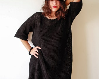 Plus Size Black Dress/Crocheted Black Dress - MADE TO ORDER