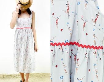Handmade Vintage Pure Cotton Printed Summer Dress, Swimmers Print [Meryl dress/Ladies swimmers play]