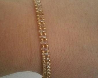 0104-Crystal and Gold Bangle Bracelet
