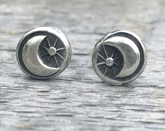 Moonstar Earrings, Sterling Silver Stud Earrings, Silver Moonstar Earrings, Sterling Silver Earrings, Silver Jewelry