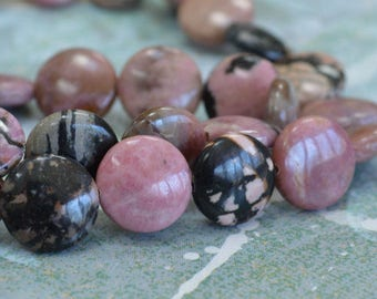 30pcs 12mm Rhodonite Natural Puffed Flat Round Coin Gemstone Beads